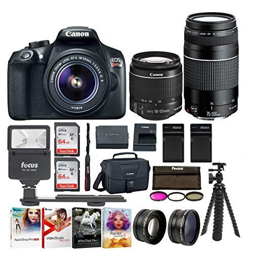 (Canon EOS Rebel T6 SLR Camera: 18 Megapixel 1080p HD Video Bundle with 18-55mm & 75-300mm Lenses 128GB 3 Batteries - 2 Travel Chargers and Photo Software - Professional Vlogging Sports & Action Camera )