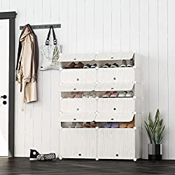 JOISCOPE MEGAFUTURE Portable Shoe Storage Organzier Tower, Modular Cabinet Space Saving, Shoe Rack Ideal Shoes, Boots, Slippers (2X 6-Tier)