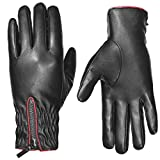LETHMIK Womens Winter Leather Gloves Touchscreen Texting Fleece Lined with Zipper Cuff Black-L