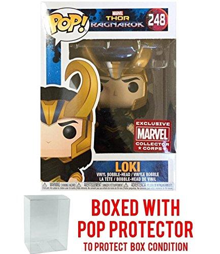 Funko Pop! Marvel: Thor Ragnarok - Loki with Helmet #248 Collector Corps Vinyl Figure (Bundled with Pop BOX PROTECTOR CASE) (Thors Helmet)