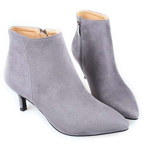 5.5cm talón de gatito dedo del pie puntiagudo botas de tobillo Seude Martin botas mujeres simples zapatos de vestido de cremallera zapatos de la boda eu tamaño 34-40 Gray