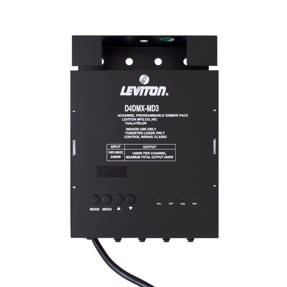 Leviton D4DMX-MD5 4-Channel Programmable Dimmer Pack Integrating ...
