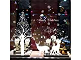 Yiyane Happy Christmas Elk Window Wall Stickers Removable Wall Decals(White)