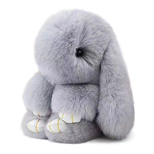 SPRINGWIND Bunny Rex Rabbit Fur Key Chain for Women Bag Charms Car Keyring