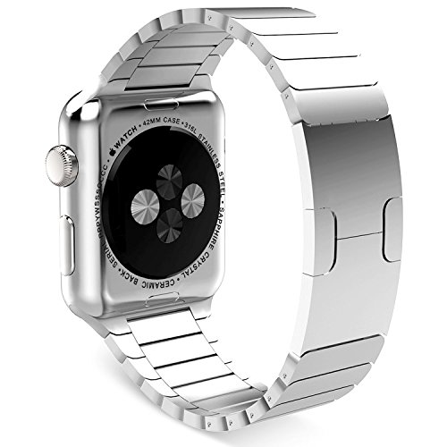 Apple Watch Band, Clebsch Stainless Steel Replacement Smart Watch Band Link Bracelet with Double Button Folding Clasp for Apple Watch All Models by Clebsch