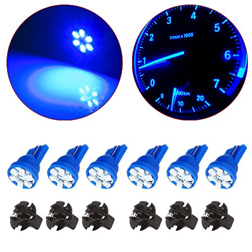 - cciyu 194 Extremely Bright LED Bulbs Interior Lights T10-6-3020-SMD Dashboard Gauge Light Speedometer Odometer LED light Instrument Panel Light with Socket Wedge T10 168 2825 W5W Blue Pack of 6