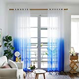 Cheap Top Finel Voile Sheer Curtains Window Panels Treatment For Living Room Bedroom Gradient Color 54 X 96 inch Length, Grommets,2 Panels-Navy