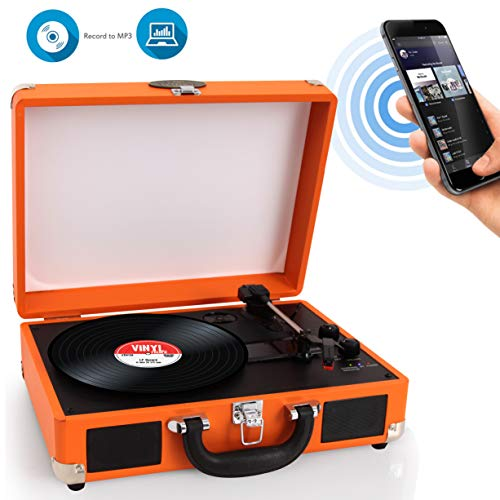 Upgraded Vintage Record Player - Classic Vinyl Player, Turntable, Rechargeable Batteries, Bluetooth, MP3 Vinyl, Music Editing Software Included, Works W/Mac & PC, 3 Speed - Pyle PVTTBT6OR (Orange)