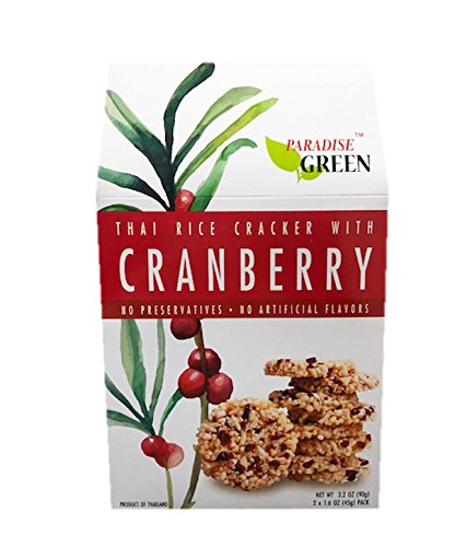 Paradise Green 100% Natural Fruit Rice Crackers 3.2oz (Cranberry)