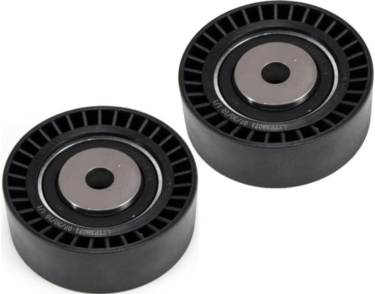 70 mm O.D 25 mm Width Flat Steel Configuration Set of 2 Accessory Belt Tension Pulley for BMW 3-Series 83-06 10 mm I.D