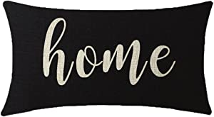 NIDITW Nice Gift Inspirational Family Home Words Waist Lumbar Black Cotton Linen Throw Pillow case Cushion Cover for Sofa Home Decorative Oblong 12x20 Inches