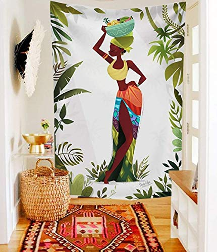 African Tribal Vibe Women beautiful girl leaf Tapestry Fabric Wallpaper Home Decor,60x 80,Twin Size