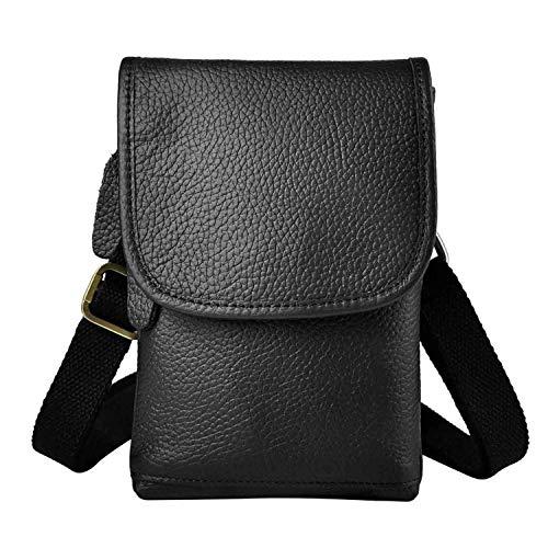 Fashion Mens Leather Multifunction Messenger Mochila Bag Designer Cigarette Case Travel Pouch Hook Belt Waist Bag Pack 611-10C,Black