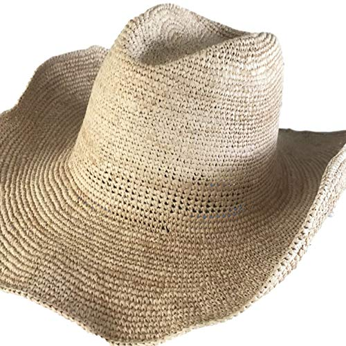 Goal 2020 Womens Crocheted Raffia Cowboy Small Size Hat with Natural Straw Color. Packable and Foldable for Small Heads Only