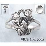 Triple Frog Ring - Sterling Silver Animal Jewelry
