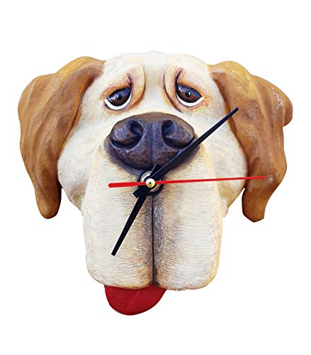 Best New Yellow Lab Labrador Dog Lover Hanging Wall Clock Decor with Magnet Gift Set Silly Gag Funny Novelty Valentines Day Idea Men Women Her Wife