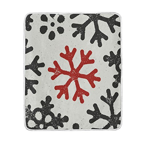 (Top Carpenter Christmas Wallpaper With Red Grungy Snowflake Velvet Plush Throw Thermal Blanket - 4.2x5 ft - Printed for Couch Bed Sofa Car)