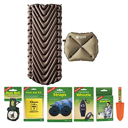 Klymit Static V Luxe Lightweight Sleeping Pad (Tan) with Pillow X (Tan) and Camping Essentials Kit | Emergency Blanket, Bear Bell, Whistle, First Aid Kit, and More Included in Bundle