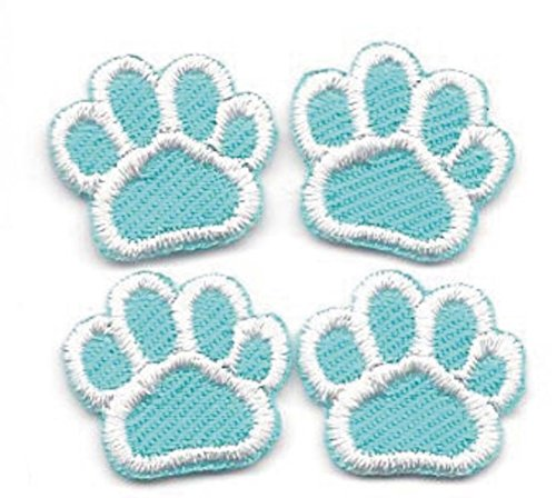 SMALL Appliques Patches Iron On Patterns Mini Dog Cat Animal Paw Print Embroidery Sewing Craft Supplies Machines Designs Logo Kids Cloth Hat Bag DIY Decor Lot of 4 Pcs (Turquoise White)
