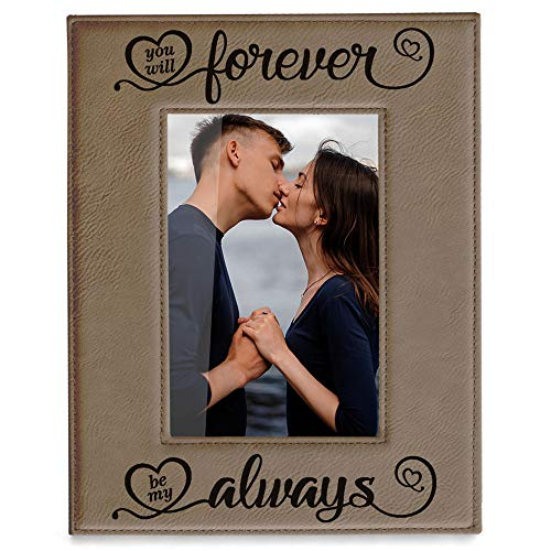 Kate Posh You Will Forever by My Always Engraved Leather Frame - Engagement, Wedding, 3rd Anniversary, I Love You Gifts for Couples ()