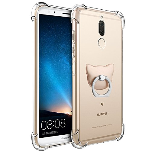 Huawei Mate 10 Lite Case, FoneExpert Soft TPU Transparent Clear Slim Gel Silicone Cover Case with 360° Rotation Kickstand Ring For Huawei Mate 10 Lite