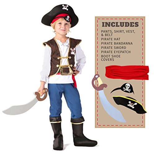 Spooktacular Creations Deluxe Pirate Boy Children Costume Set (Toddler 3-4) (Jake And The Neverland Pirate Boots)