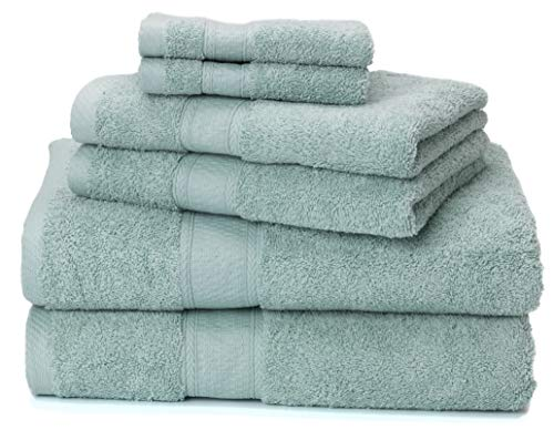 Ariv Collection Premium Bamboo Cotton 6-Piece Towel Set (2 Bath Towels, 2 Hand Towels and 2 Washcloths) - Natural, Ultra Absorbent and Eco-Friendly (Duck Egg) - BEST VALUE: Set includes two bath towels (30 inch x 52 inch), two hand towels (16 inch x 28 inch), and two washcloths (12 inch x 12 inch) (NOW AVAILABLE IN 100% COTTON 8 PIECE SET - Click 'Ariv Collection' hyperlink above) Woven with a blend of High Quality Bamboo & Cotton for Softness, Absorbency, Strength, and Durability Bamboo fiber is Mildew-resistant, Odor Resistant, Soft and Light-weight. - bathroom-linens, bathroom, bath-towels - 51%2BYhdw9e6L -