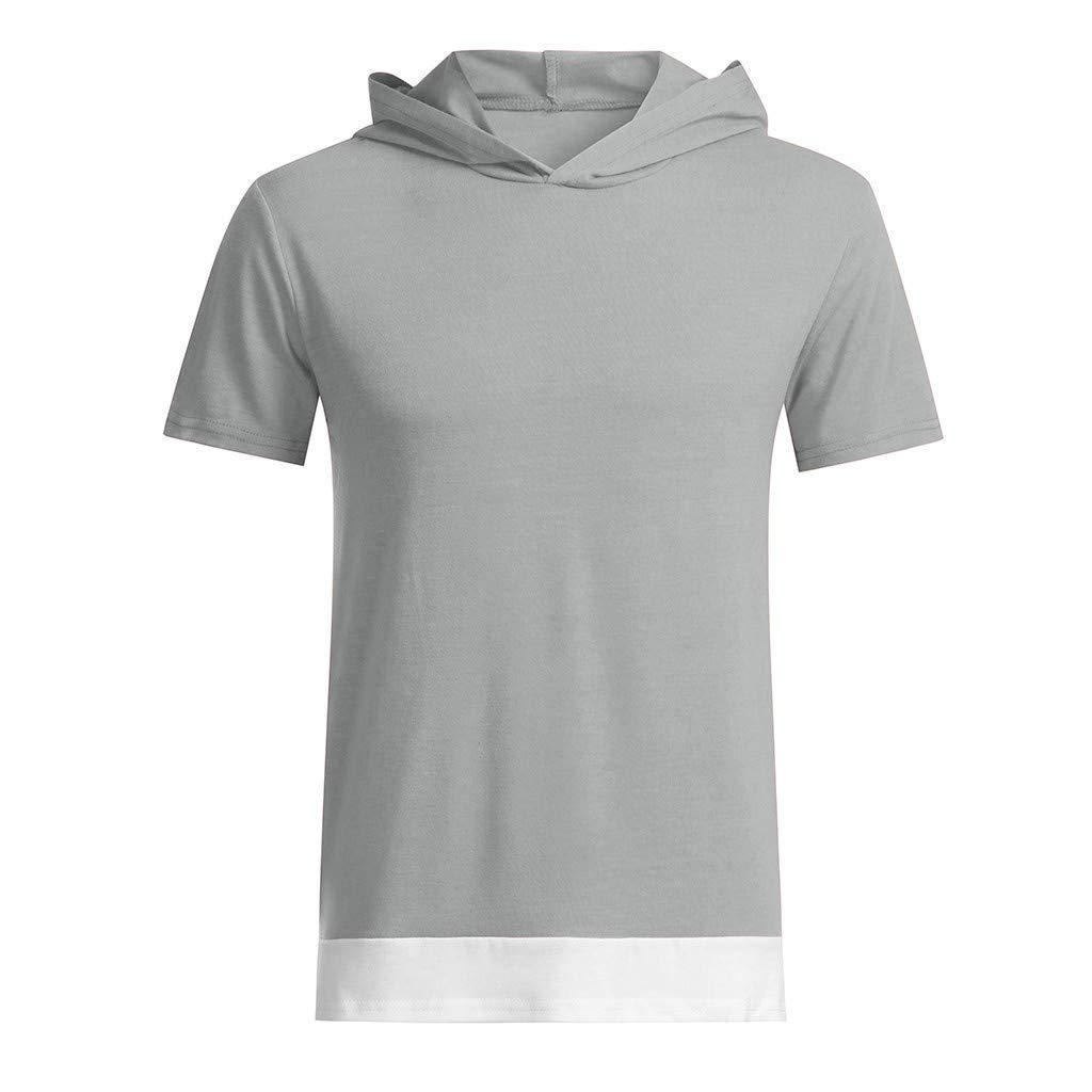 Winsummer Mens Hipster Hip Hop Solid Color Short Sleeve Hoodies T-Shirt Casual Summer Sweatshirt Tee Shirts