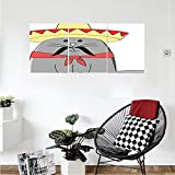 Liguo88 Custom canvas Cat Lover Decor Collection Modern Illustration of Latino Kitten with Mexican Hat and Moustache Artsy Mascot Bedroom Living Room Wall Hanging Grey White Red