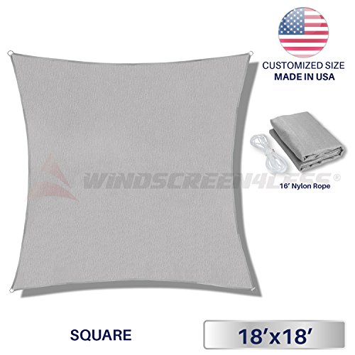 Windscreen4less Sun Shade Sail for Outdoor Patio Backyard UV Block Awning with Steel D-rings 18ft x 18ft Light Grey Square ? Custom Size by Windscreen4less