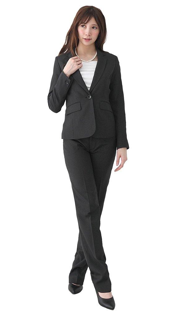 [アッドルージュ] スーツ レディース パンツスーツ ジャケット セット 洗える 抗菌 消臭 UVカット 【j5038】 B01M9J2EQ5 19号ABR|ストライプ ストライプ 19号ABR
