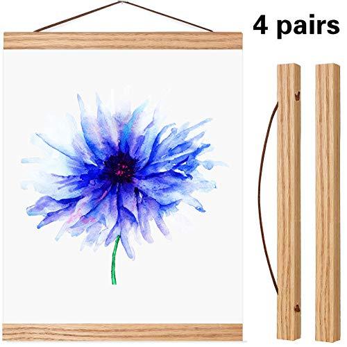 Poen 2 Sets Magnetic Poster Hanger Wooden Poster Hanger Frame DIY Artwork Hanger for Photo Picture Artwork Supplies (8 Inch) ()