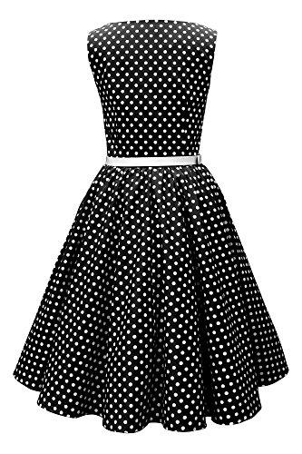 Noir Pois Robe Annes 50 Vintage 'Audrey' BlackButterfly 4W7RY8n6n