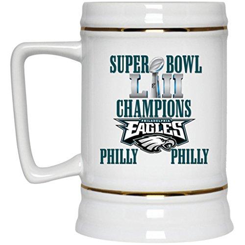 Philadelphia Eagles Beer Mug Super Bowl 52 Champions Philadelphia Eagles Philly Philly Beer Stein 22 oz White Ceramic Beer Cup NFL NFC Perfect Gift for any Eagles Fan