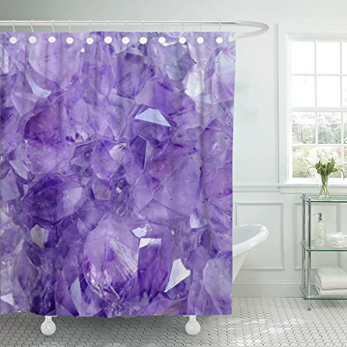 (Emvency Shower Curtain Purple Crystal Amethyst Pink Gemstone Stone Waterproof Polyester Fabric 72 x 72 inches Set with Hooks )