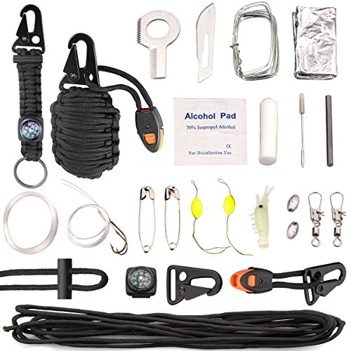 Paracord Survival Grenade Paracord Keychain 19 In 1 Compass, Emergency Whistle, Carabiner, Fire Star