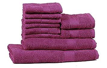 Trident 400 g/m², Juego de 10 toallas de algodón (baño, mano y cara), Morado Oscuro: Amazon.es: Hogar