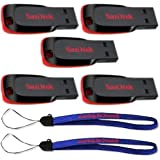SanDisk Cruzer Blade 16GB (5 pack) USB 2.0 Flash Drive Jump Drive Pen Drive SDCZ50-016G - Five Pack w/ (2) Everything But Stromboli (TM) Lanyard