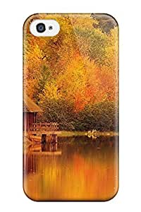 Fashion Hard Case For Iphone 4/4s- House On A Yellow Lake Photography Scenic People Photography Defender Case Cover