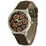Vinca Major Flower Printed Dial Design Lady Watches Rhinestone Case Convex Prism Crysal Women Time Piece Japanese Quartz Analog Fashion Stylish Casual Dress Wristwatch Girls Business Gifts