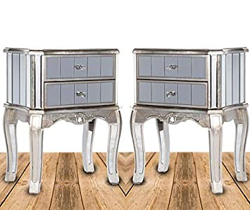 Embossed Silver Bedside Cabinet 2 Drawer Mirrored Glass Storage Chest Lamp Table