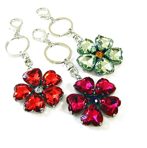 Jewel Keychain - Linpeng Faceted Acrylic Jewel Bead Key Chain 3 Pcs Set Orange,Fuchsia,Peridot