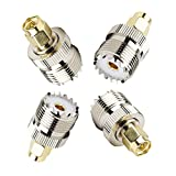 SaferCCTV(TM)(Pack of 4)RF Coaxial Adapter, UHF SO-239 SO239 Female Socket to SMA Male Jack Jumper Plug ,UHF Female to SMA Male Connector for Antenna, Ham Radio, Baofeng UV-5R/BF-8H,Kenwood,Yaesu