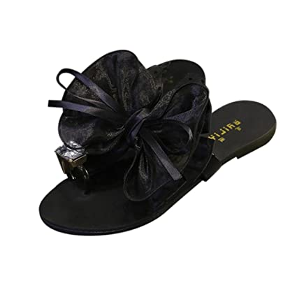 49363e98e18c Sunshinehomely Women Flower Bow Flat Heel Toe Sandals Slipper Beach Shoes  Casual Shoes Open Peep Toe
