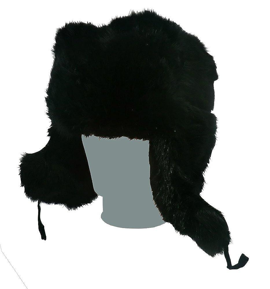 SIZE XL Taglia disponibile: 60-61 COLBACCO NERO IN PELLICCIA DI CONIGLIO RUSSO ORIGINALE USHANKA