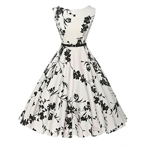 E-Scenery Women's Vintage Floral Bodycon Sleeveless Casual Evening Party Prom Swing Dress (White, - Black Or White Dresses