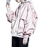 2018 Spring Pink Baseball Uniform Wind Baseball Satin Short Coat Jacket Ins Super Fire,L,Pink Thick