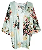 Finoceans Womens Floral Chiffon Kimono Cardigans Loose Beach Cover up Half Sleeve Blouse Tops (XX-Large, Mint Floral 2)