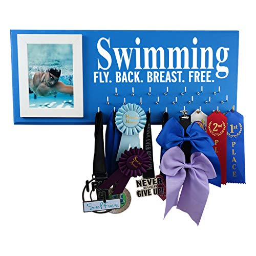 RunningontheWall Swimming Medal Display Rack, Swimming Gifts for Women Swimming Fly. Back. Breast. Free. Swimmer Ribbon Holder, Swimming Ribbon Display Rack