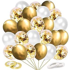 Ballon Dorés Anniversaire, 60 Pièces Or Confettis Ballons Helium, Ballon de Baudruche Dores Blanc, Métallique Ballons…